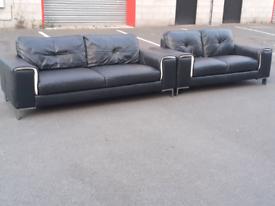 Black Leather 2&3 Seater Sofas