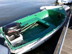 3.5mtr Fishing Boat/Tender. Suzuki 4hp Outboard. Heavy Duty Boat Trailer.