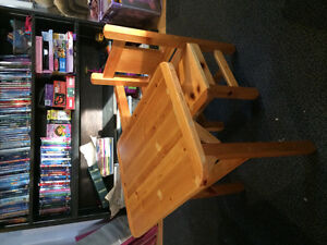Wooden child's desk and chair