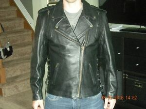 Womens classic leather jacket with armour