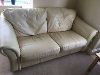 2x cream leather sofas 3 seater and 2 seater