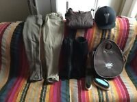 Horse riding clothing+ helmet+ grooming bag
