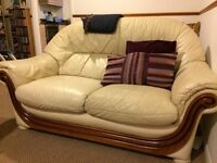 2x Cream Leather Sofas