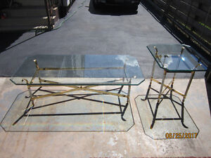 Glass coffee table and end peice