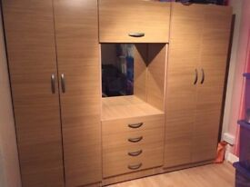 USED Assembled Bedroom Wardrobes With 4 Doors,Mirror & Drawers-Sale
