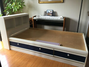 Twin bed frame, with three drawers and headboard