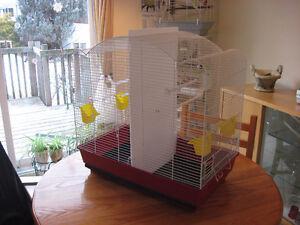 Grosse cage double ou petite volière.