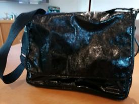 Black patent stock sac baby changing bag