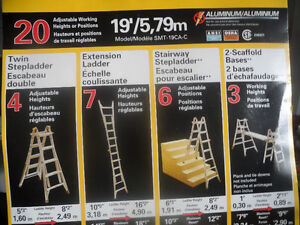 Stanly 19 feet adjustable 1A duty, 300lb ladder,never used