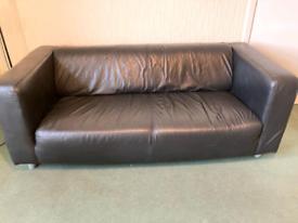 Ikea klippan sofa black faux leather