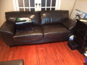 Two synthetic Leather couches (400$) - Deux sofas en cuir (400$