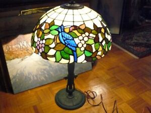 Large Stained Gl Lamp Shade With Antique Crown Base