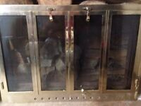 Solid brass fireplace doors