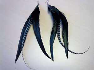 Iridescent Green Feather Earrings F/S
