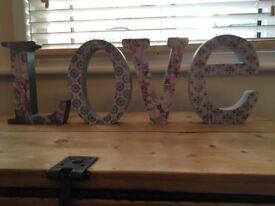 LOVE lettering room decor