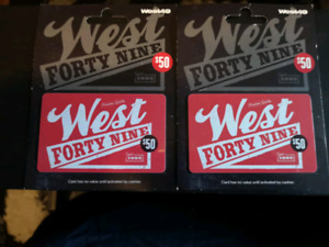 Two 50$ West forty nine gift cards