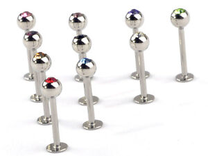 10x Bulk Stainless Steel Lip Chin Labret Ring Bar Stud Tragus Ball Body Piercing