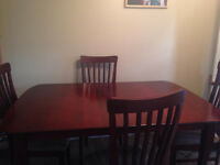 DINING KITCHEN TABLE 6 CHAIRS CHERRY WOOD