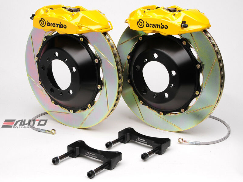 Brembo Rear Gt Brake 4pt P Caliper Yellow 345x28 Slot Disc Ferrari 550 575 96-05