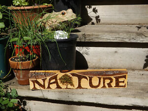 ORIGINAL AND UNIQUE WOODBURNED NATURE SIGN ON RECLAIMED WOOD