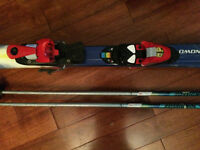 downhill skis 120 cm and poles for child