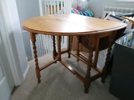 Vintage oak drop leaf dining table