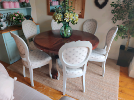 Round Pedestal Table and Six upcycled Balloon Back Chairs