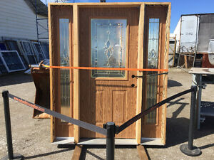 Leaded glass entrance door with sidelights