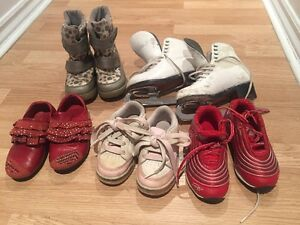Size 7.5 skates and size 9 winter boots and running shoes