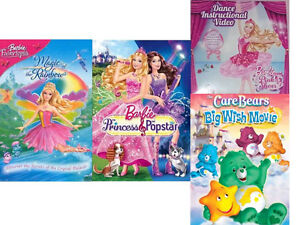 4 Excellent Condition Barbie & Care Bear DVD Videos