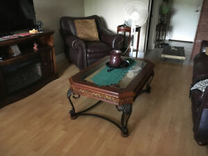 For sale coffee table real wood and cast iron