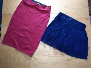 ZARA BLUE PLEATED SKIRT AND ZARA RED PENCIL SKIRT