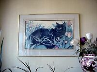 Large Brass Double Framed Black Cat in Bed of Tulips