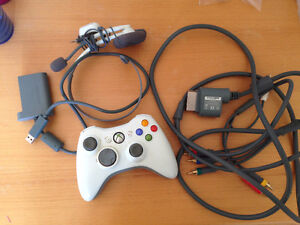 XBox 360 Controller, headset, and more cables. $40