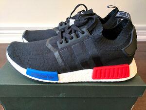 BNIB DS Adidas NMD R1 PK OG Black Red Blue Primeknit Size 11
