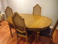 Solid Oak Wood Antique Watertown Slide Dining Table + 6 Chairs