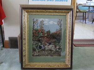 Picture of Hunting Dogs in Antique Frame