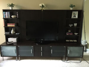 Entertainment Wall Unit - Chocolate / Silver