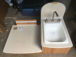 Camper sink, faucet, and counter
