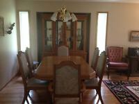 Oak Dining Room Table with 6 Chairs and Hutch