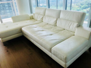 MUST GO: Mobilia - White Leather Couch