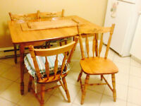 Wooden kitchen table with with 4 chairs for sale