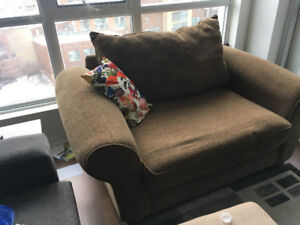 brown oversized chair/loveseat