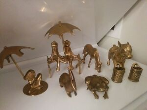 Beautiful Vintage Collection Set Of Farm Brass Animal Figurines