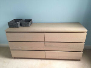 White Oak Bedroom Set - Queen Bed Frame, Dresser & Wardrobes