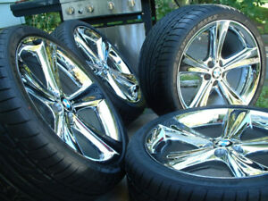 Mags concaves et pneus BMW style 128 chrome 21''