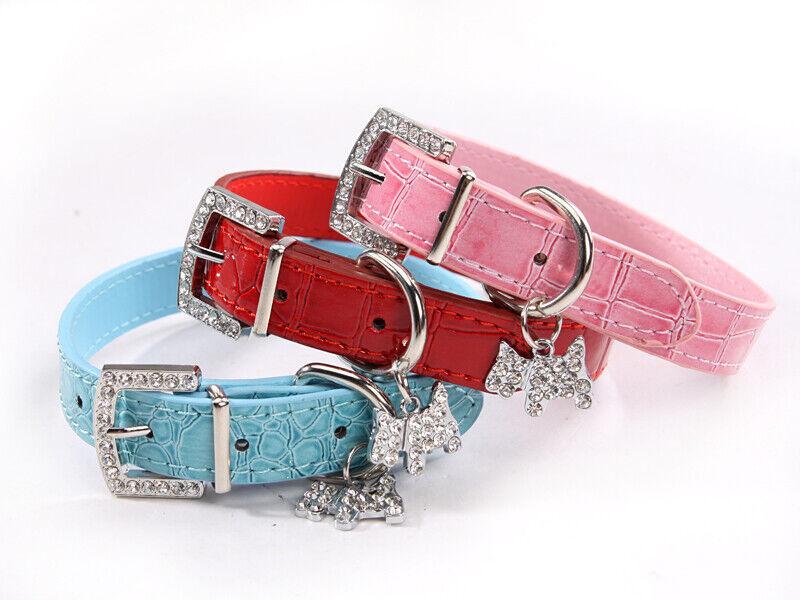 Dog Collar Rhinestone Charm ~ Pet Dog Puppy Pendant Crocodile Leather *Cute* Cat Supplies