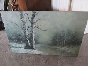 Painting-Oil On Canvas--Winter Forest/Lake Scene