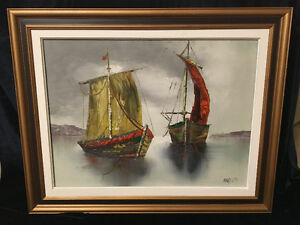 PAIR OF OIL PAINTINGS OF SAILBOATS BY MOREAU