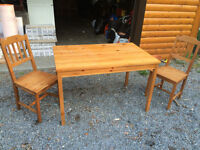 Wooden table with 2 chairs